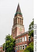 Town Hall Tower, landmark of the city, Kiel, Schleswig-Holstein, Germany. Стоковое фото, фотограф Николай Коржов / Фотобанк Лори