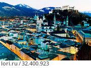 Купить «Eine Stadt Ansicht der Stadt Salzburg in Österreich.Altstadt und Festung Hohensalzburg», фото № 32400923, снято 12 ноября 2019 г. (c) age Fotostock / Фотобанк Лори