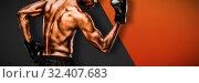 Купить «Composite image of muscular boxer», фото № 32407683, снято 5 июля 2020 г. (c) Wavebreak Media / Фотобанк Лори