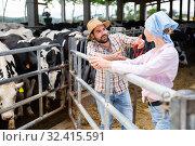 Купить «Farm family communicating near cowshed», фото № 32415591, снято 29 мая 2019 г. (c) Яков Филимонов / Фотобанк Лори