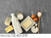 Купить «different kinds of cheese, milk, yogurt and butter», фото № 32421079, снято 16 августа 2018 г. (c) Syda Productions / Фотобанк Лори