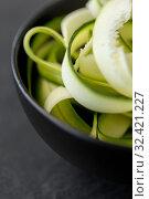 Купить «peeled or sliced zucchini in ceramic bowl», фото № 32421227, снято 12 апреля 2018 г. (c) Syda Productions / Фотобанк Лори