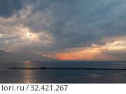 Купить «Dramatic sunset landscape with moody sky», фото № 32421267, снято 8 февраля 2015 г. (c) EugeneSergeev / Фотобанк Лори