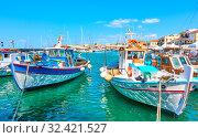 Купить «Fshing boats in the port of Aegina town», фото № 32421527, снято 12 сентября 2019 г. (c) Роман Сигаев / Фотобанк Лори