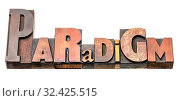 Купить «Paradigm - isolated word abstract in vintage letterpress wood type blocks, mixed fonts», фото № 32425515, снято 6 июля 2020 г. (c) easy Fotostock / Фотобанк Лори