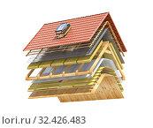Купить «Cross section and scheme of ceramic tiles roof. Roof cover in layers isolated on white.», фото № 32426483, снято 8 июля 2020 г. (c) Maksym Yemelyanov / Фотобанк Лори