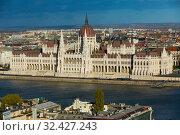 Scenery of Budapest with Hungary parliament (2017 год). Стоковое фото, фотограф Яков Филимонов / Фотобанк Лори