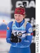 Sportswoman biathlete Dolzhenkova Evgenia (Kamchatka Krai) after skiing and rifle shooting (2019 год). Редакционное фото, фотограф А. А. Пирагис / Фотобанк Лори