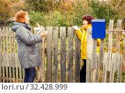 Купить «A lively conversation between two neighbors.», фото № 32428999, снято 22 октября 2016 г. (c) Акиньшин Владимир / Фотобанк Лори