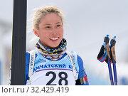 Купить «Sportswoman biathlete Kseniya Petrunova (Kamchatka Region) at finish after rifle shooting and skiing», фото № 32429419, снято 12 апреля 2019 г. (c) А. А. Пирагис / Фотобанк Лори