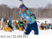 Купить «Sportsman biathlete Kireyev Vladislav Kazakhstan skiing distance biathlon stadium after rifle shooting», фото № 32439951, снято 12 апреля 2019 г. (c) А. А. Пирагис / Фотобанк Лори