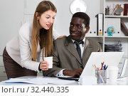 Купить «Sexual harassment between two colleagues during working», фото № 32440335, снято 18 февраля 2020 г. (c) Яков Филимонов / Фотобанк Лори