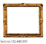 Купить «Wooden vintage frame isolated on white background», фото № 32440551, снято 24 августа 2019 г. (c) Наталья Волкова / Фотобанк Лори