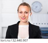 Купить «Young women worker in the office», фото № 32440907, снято 24 апреля 2017 г. (c) Яков Филимонов / Фотобанк Лори