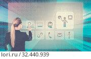 Купить «Business lady touching digital interface», фото № 32440939, снято 10 июля 2020 г. (c) Яков Филимонов / Фотобанк Лори