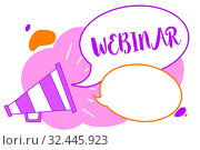 Text sign showing Webinar. Conceptual photo defined as seminar conducted over the Internet Web conferencing Megaphone loudspeaker speech bubbles important message speaking out loud. Стоковое фото, фотограф Zoonar.com/Artur Szczybylo / easy Fotostock / Фотобанк Лори
