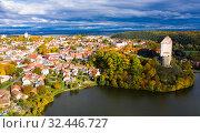 Купить «Aerial view of medieval castle Plumlov. City of Plumlov. Czech Republic», фото № 32446727, снято 16 октября 2019 г. (c) Яков Филимонов / Фотобанк Лори