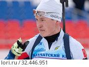 Купить «Portrait of Russian sportsman biathlete Akhtyamov Ilmir Saint Petersburg at finish after skiing and rifle shooting», фото № 32446951, снято 12 апреля 2019 г. (c) А. А. Пирагис / Фотобанк Лори