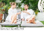 Купить «couple relaxing in spa hotel», фото № 32455719, снято 24 апреля 2018 г. (c) Яков Филимонов / Фотобанк Лори