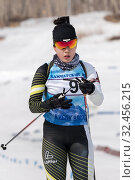 Купить «Korean sportswoman biathlete skiing in stadium of biathlon complex. Lee Hyunju (South Korea) during Regional youth biathlon competitions East Cup», фото № 32456215, снято 13 апреля 2019 г. (c) А. А. Пирагис / Фотобанк Лори