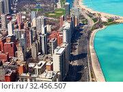 Chicago, Concrete beach on Michigan and i41 (2018 год). Стоковое фото, фотограф Сергей Новиков / Фотобанк Лори
