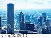 Business colors panorama of Chicago downtown view (2018 год). Стоковое фото, фотограф Сергей Новиков / Фотобанк Лори
