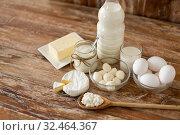 Купить «milk, yogurt, eggs, cottage cheese and butter», фото № 32464367, снято 16 августа 2018 г. (c) Syda Productions / Фотобанк Лори