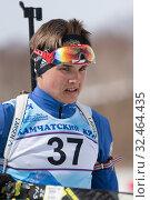 Купить «Portrait of Kamchatka sportsman biathlete Agin Pavel during Open regional youth biathlon competitions East Cup», фото № 32464435, снято 13 апреля 2019 г. (c) А. А. Пирагис / Фотобанк Лори