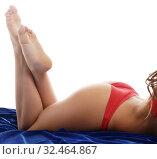 Купить «Playful brunette in sexy lingerie posing at camera», фото № 32464867, снято 27 апреля 2016 г. (c) Гурьянов Андрей / Фотобанк Лори