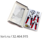 The eyelet pliers set for punching holes or attaching press studs and eyelets close-up. Стоковое фото, фотограф Татьяна Ляпи / Фотобанк Лори