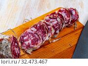 Sliced Salami piacentino. Стоковое фото, фотограф Яков Филимонов / Фотобанк Лори