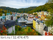 Karlovy Vary with church and hot spring colonnade, Czech Republic. Стоковое фото, фотограф Яков Филимонов / Фотобанк Лори