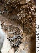 Купить «Moravian Karst. Stalactites, stalagmites and streak formations in cave of Balzarca. Czech Republic», фото № 32474527, снято 2 июля 2020 г. (c) Яков Филимонов / Фотобанк Лори