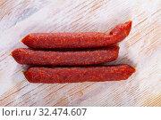 Close up view of tyrolean sausages. Стоковое фото, фотограф Яков Филимонов / Фотобанк Лори