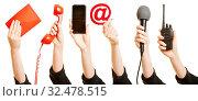 Viele Wege zur Kommunikation mit Kundenservice wie Brief, Email, Telefon oder Funkgerät. Стоковое фото, фотограф Zoonar.com/Robert Kneschke / age Fotostock / Фотобанк Лори