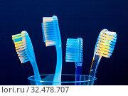 Mehrere Zahnbürsten in einem Becher warten auf die Zahn Reinigung. Стоковое фото, фотограф Zoonar.com/Erwin Wodicka / age Fotostock / Фотобанк Лори