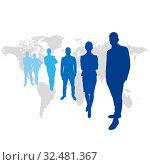 Geschäftsleute Team vor Weltkarte als Silhouette. Стоковое фото, фотограф Zoonar.com/Robert Kneschke / age Fotostock / Фотобанк Лори