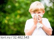 Kind mit Allergie beim Nase putzen mit Taschentuch in der Natur im Park. Стоковое фото, фотограф Zoonar.com/Robert Kneschke / age Fotostock / Фотобанк Лори