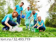 Freiwillige Helfer einer Umweltschutz Gruppe säubern einen Park von Abfall und Müll. Стоковое фото, фотограф Zoonar.com/Robert Kneschke / age Fotostock / Фотобанк Лори