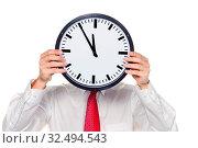 Ein Manager im Stress mit Uhr vor Kopf. Arbeitszeit im Büro. Стоковое фото, фотограф Zoonar.com/Erwin Wodicka / age Fotostock / Фотобанк Лори