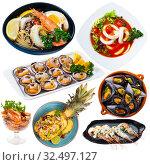 Купить «Dishes with different seafood at plates isolated on white background», фото № 32497127, снято 12 декабря 2019 г. (c) Яков Филимонов / Фотобанк Лори