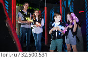 Boy and girl on lasertag arena. Стоковое фото, фотограф Яков Филимонов / Фотобанк Лори