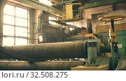 Купить «Spinning machine part at large plant video», видеоролик № 32508275, снято 7 ноября 2019 г. (c) Гурьянов Андрей / Фотобанк Лори