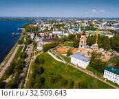 Купить «Aerial view of Kostroma with Kremlin Complex during reconstruction», фото № 32509643, снято 10 мая 2019 г. (c) Яков Филимонов / Фотобанк Лори