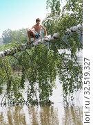 Мальчик 12 лет забрался на упавшую березу в реку. Стоковое фото, фотограф Elizaveta Kharicheva / Фотобанк Лори