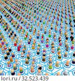 Купить «Crowd of small symbolic 3d figures linked by lines», фото № 32523439, снято 28 мая 2020 г. (c) easy Fotostock / Фотобанк Лори