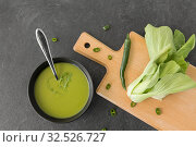 Купить «bok choy chinese cabbage cream soup in bowl», фото № 32526727, снято 12 апреля 2018 г. (c) Syda Productions / Фотобанк Лори