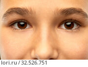 Купить «close up of teenage girl face with brown eyes», фото № 32526751, снято 7 ноября 2019 г. (c) Syda Productions / Фотобанк Лори