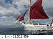 The MSV Katharina, a 38 meter wooden pinisi ship (a traditional Indonesian sailing ship), under sail near Komodo Island, Indonesia. Стоковое фото, фотограф Wolfgang Kaehler / age Fotostock / Фотобанк Лори