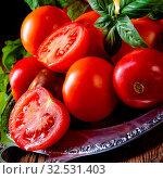 Купить «Various types of tomatoes served and presented on the silver platter.», фото № 32531403, снято 19 февраля 2020 г. (c) easy Fotostock / Фотобанк Лори